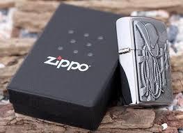 Zippo Cowboy Hat and Rope Emblem Brushed Chrome