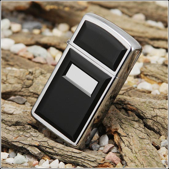 Zippo Ultralite Black Emblem High Polish Chrome Slim