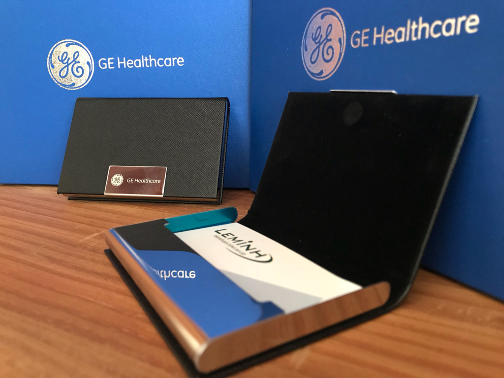 GE Healthcare qua tang, giftset 3 san pham, but ky, namecard, moc khoa khac logo  GE Healthcare