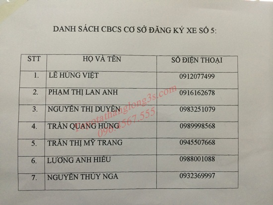 Danh sách cán bộ đăng ký xe số 5 ngọc hồi
