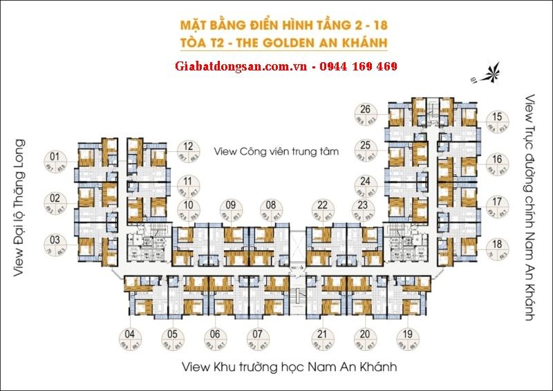 Bán căn góc chung cư The Golden An Khánh