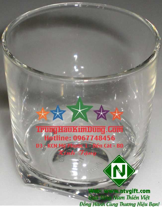 cốc thủy tinh cao cấp in logo 5 màu P85-PF
