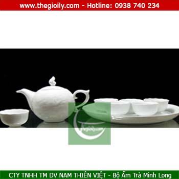 Bộ ấm trà minh long 0.3l Mẫu Đơn Trắng