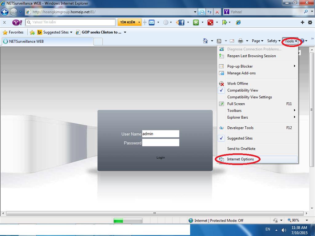 Hướng dẫn cấu hình trình duyệt IE để hiển thị được giao diện xem camera