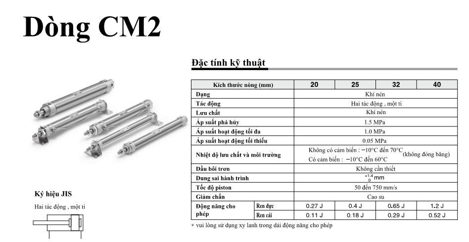 Xi lanh khí nén SMC dòng CM2