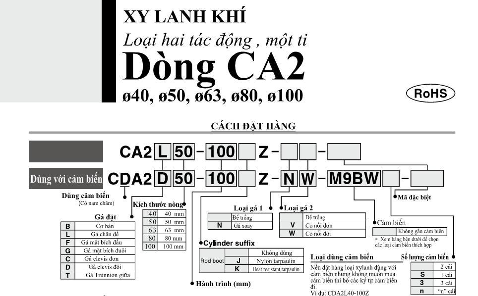 Xi lanh khí nén SMC, dòng CA2