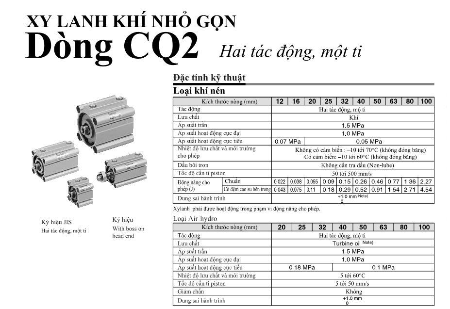 Xi lanh khí nén SMC, dòng CQ2