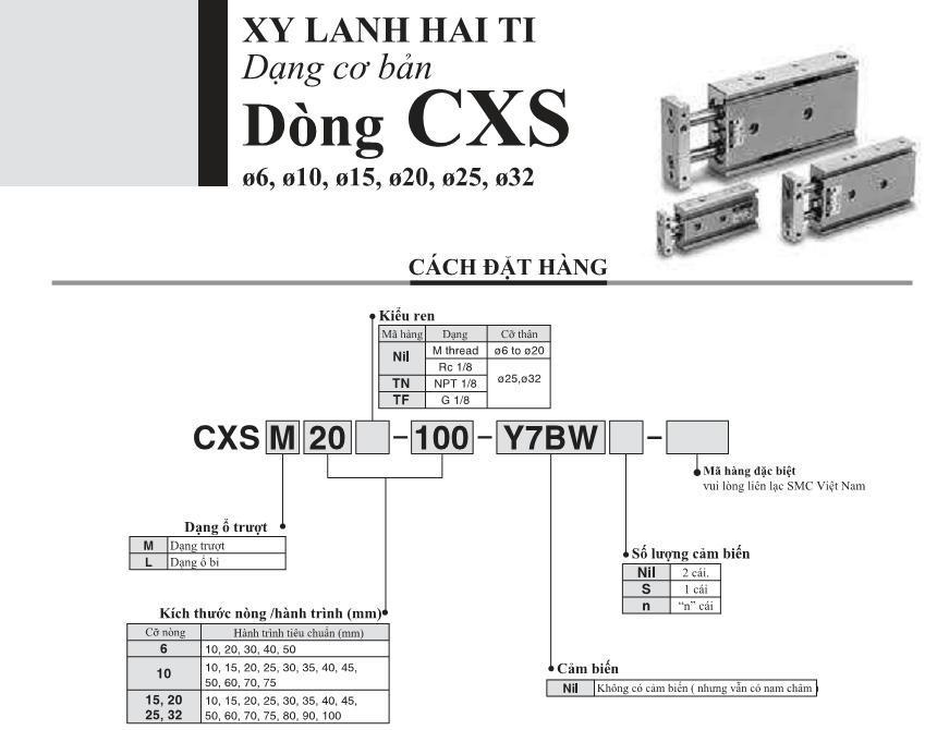 Xi lanh khí nén SMC, dòng CXS