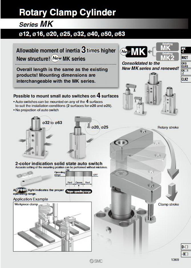 Xi lanh khí nén SMC, dòng MK