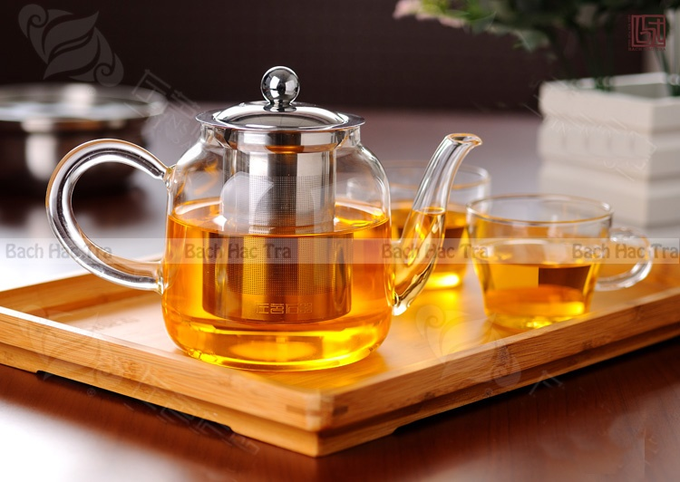 ấm trà thủy tinh lõi lọc inox