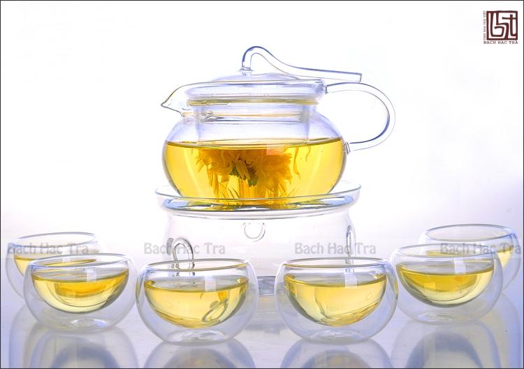 ấm trà thủy tinh lõi lọc thủy tinh trong