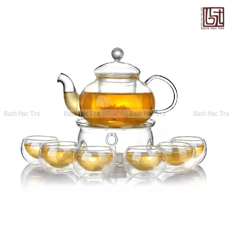 bộ ấm chén pha trà thuỷ tinh