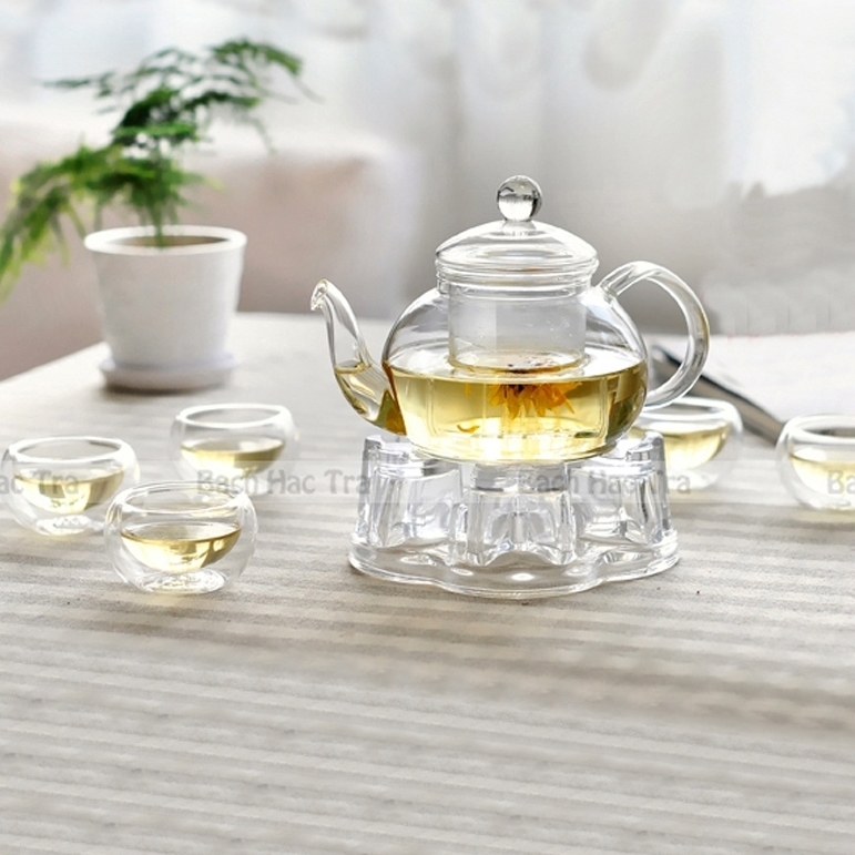 bộ pha trà thuỷ tinh bao gồm ấm thuỷ tinh và chén thuỷ tinh hai lớp