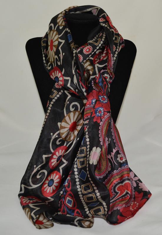 khăn lụa tơ tằm in họa tiết KL111