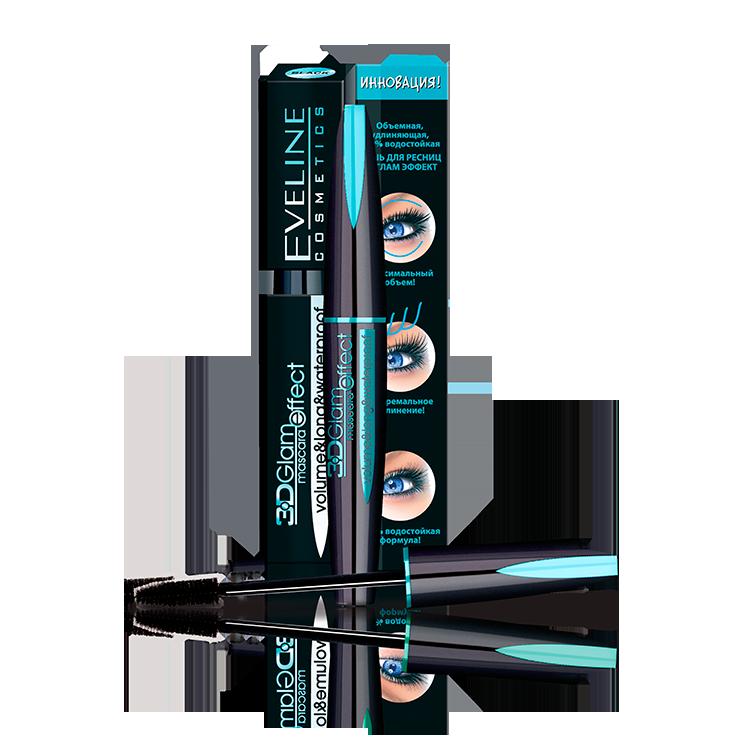 Mascara eveline 3d glam effect mau xanh khong tham nuoc 24h