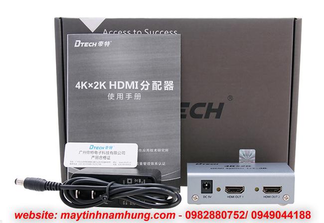 Bộ chia 2 cổng HDMI chuẩn 2K, 4K cho tivi Dtech DT7142