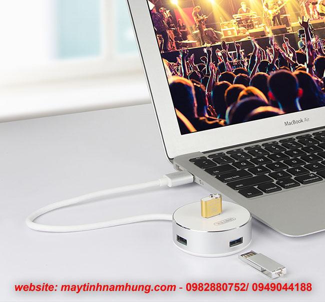 Bộ chia USB 3.0 vỏ nhôm có cấp nguồn phụ cho thiết bị ngoại vi
