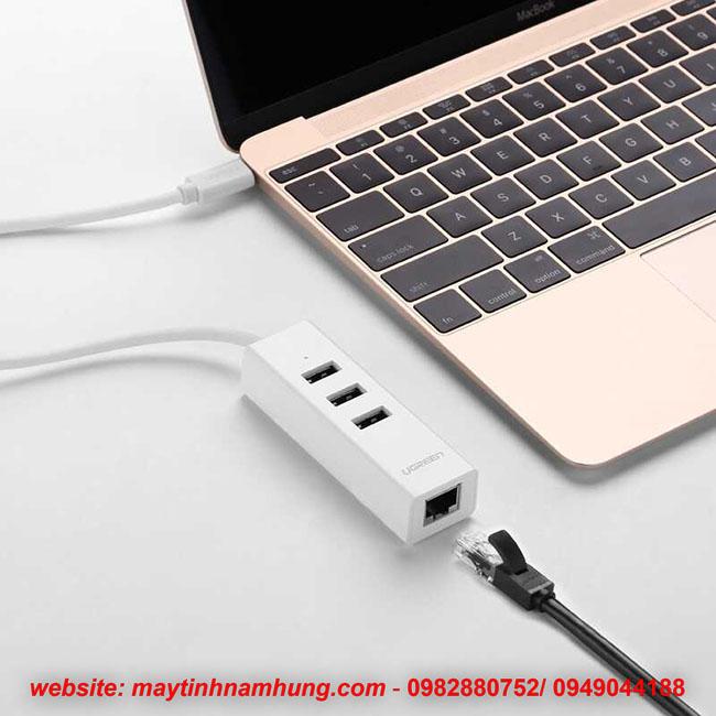 Bộ chia USB cho Macbook pro 2016 tích hợp cổng cắm mạng Lan