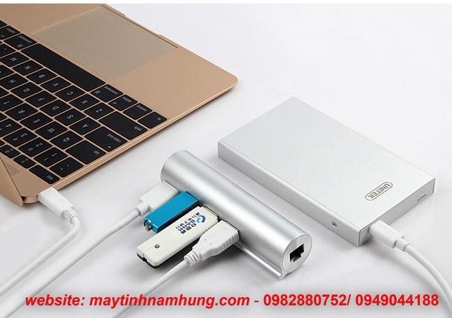 Bộ chia USB type C cho Macbook 12 tích hợp cổng LAN gigabit Unitek Y3095