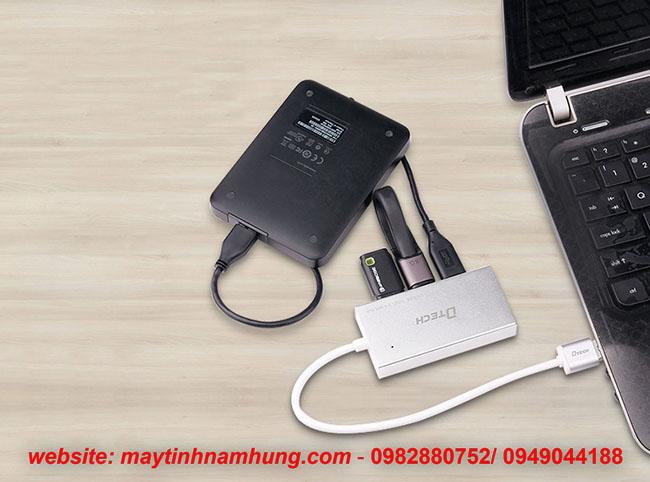 Bộ chia 4 cổng USB vỏ nhôm thiết kế cho Macbook