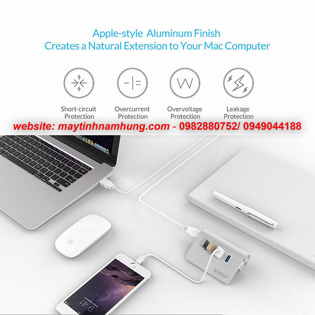 Bộ chia USB thiết kế vỏ nhôm sang trọng Orico M3H4