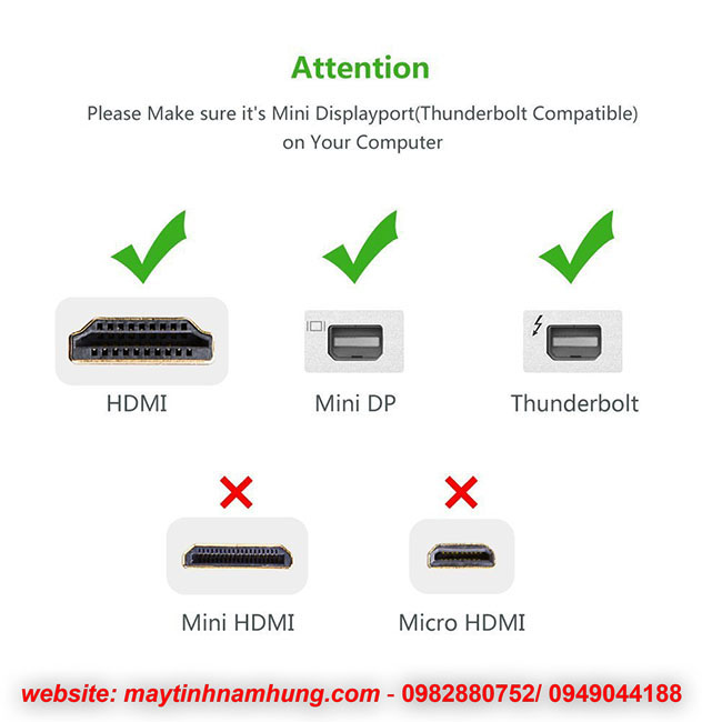 Cáp chuyển Mini DisplayPort to HDMI Ugreen 10461 cho Apple Macbook, Macbook Pro, iMac, Macbook Air, Mac, Microsoft Surface Pro