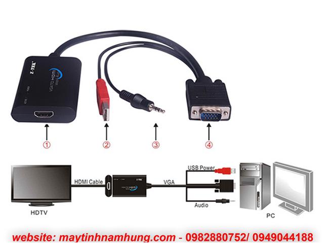 Cáp chuyển đổi từ VGA sang HDMI cắm từ case máy tính ra màn tivi Ztek ZE577