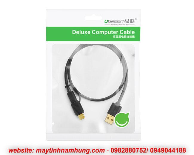 Cáp sạc 2 đầu Micro USB và USB type C cho điện thoại Samsung