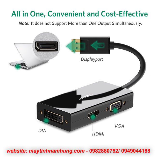 Cáp chuyển đổi Display Port sang HDMI VGA DVI 3 in 1