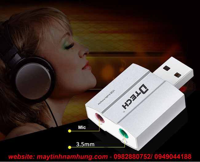 Đầu chuyển tai nghe, mic qua cổng USB