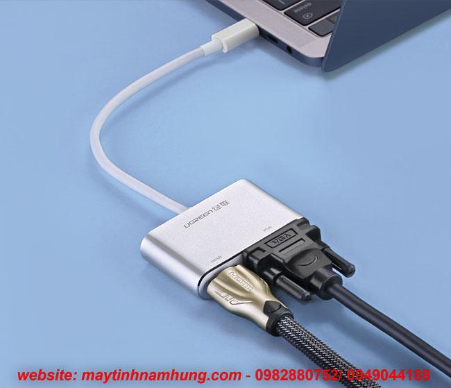 Cáp chyển Thunder bolt 3 ra HDMI VGA cho Macbook, Dell XPS, HP Envy