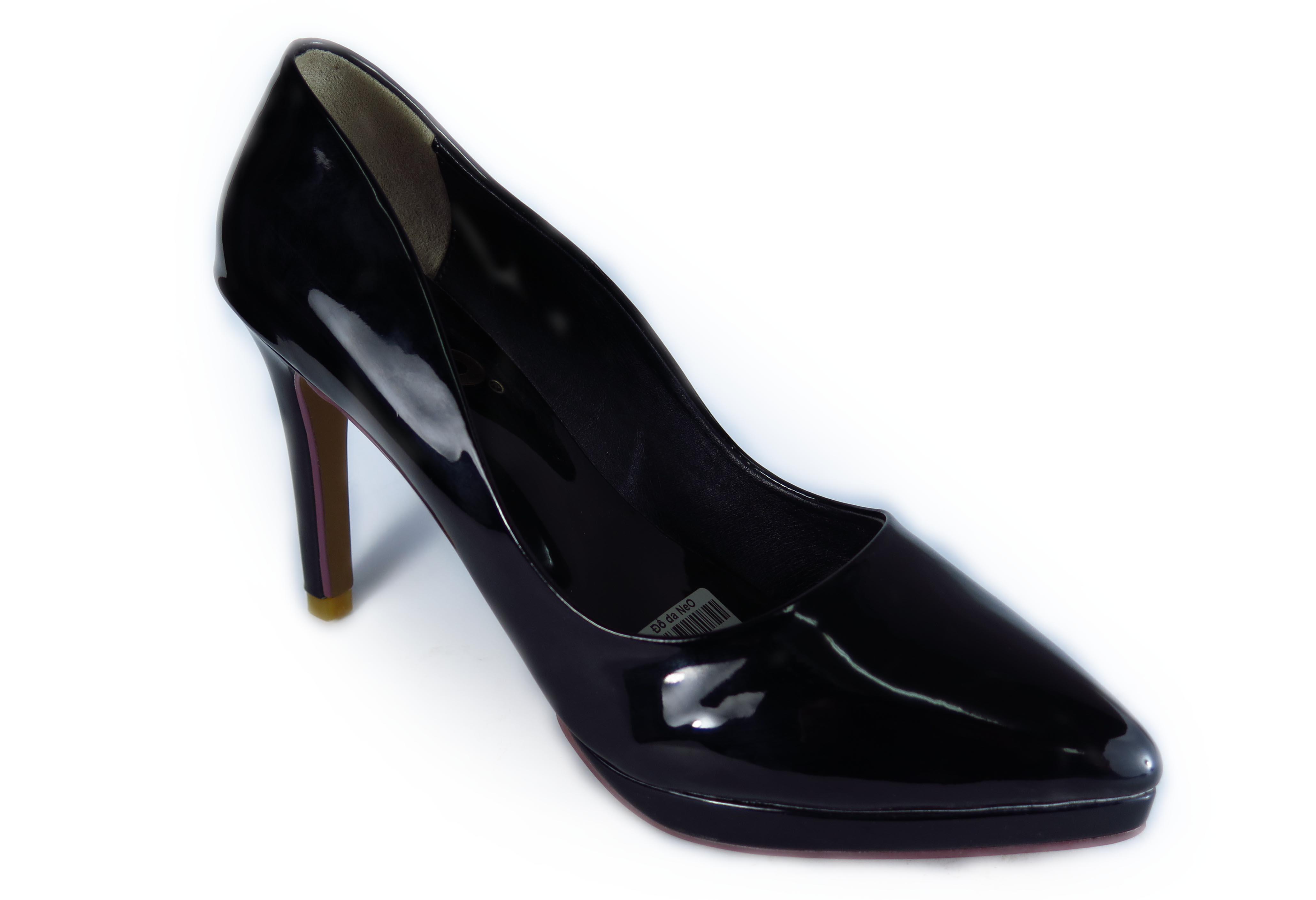 Giày nữ cao 9cm, 2 đế, mũi nhọn, màu đen bóng
