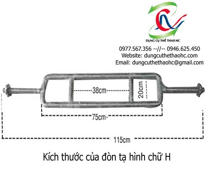 kích thước của đòn tạ hình chữ H