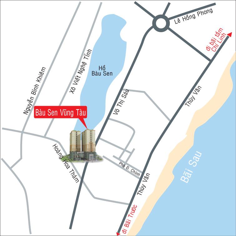 vị trí Cao ốc Bàu Sen - Võ Thị Sáu và Hoàng Hoa Thám