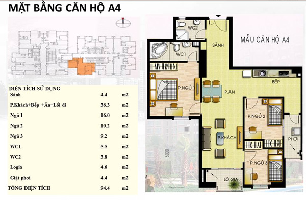 Mẫu căn hộ  A4 Trường Chinh