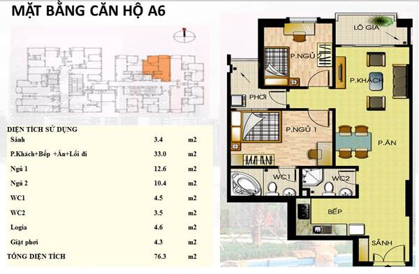 Mẫu căn hộ A6 Trường Chinh
