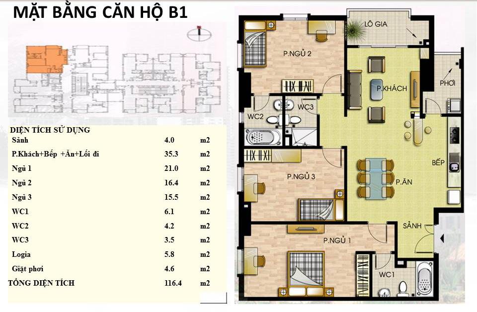 Mẫu căn hộ B1 Trường Chinh