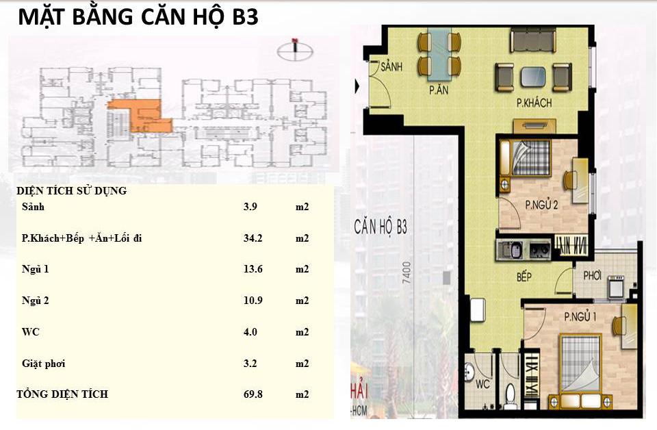 Mẫu căn hộ B3 Trường Chinh