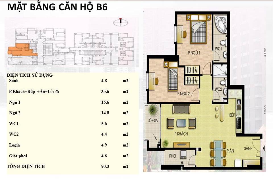 Mẫu căn hộ B6 Trường Chinh