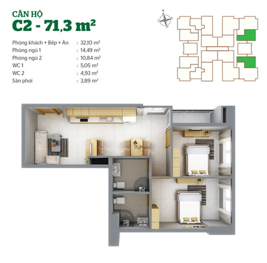 Mặt bằng căn hộ C2 Tân Hương Tower