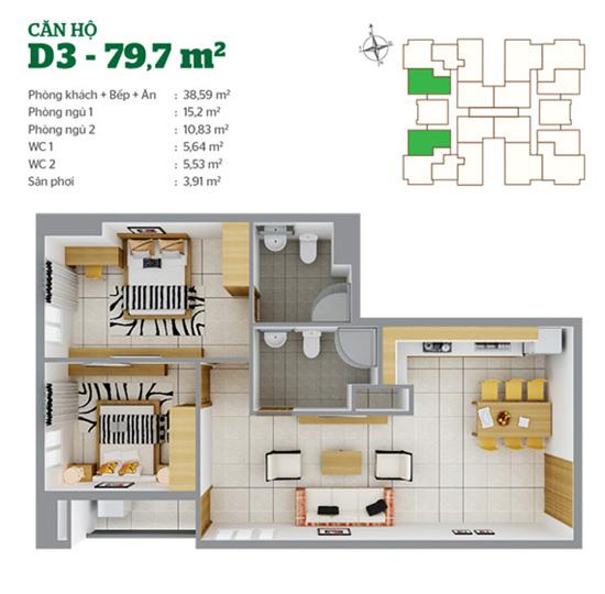 Mặt bằng căn hộ D3 Tân Hương Tower