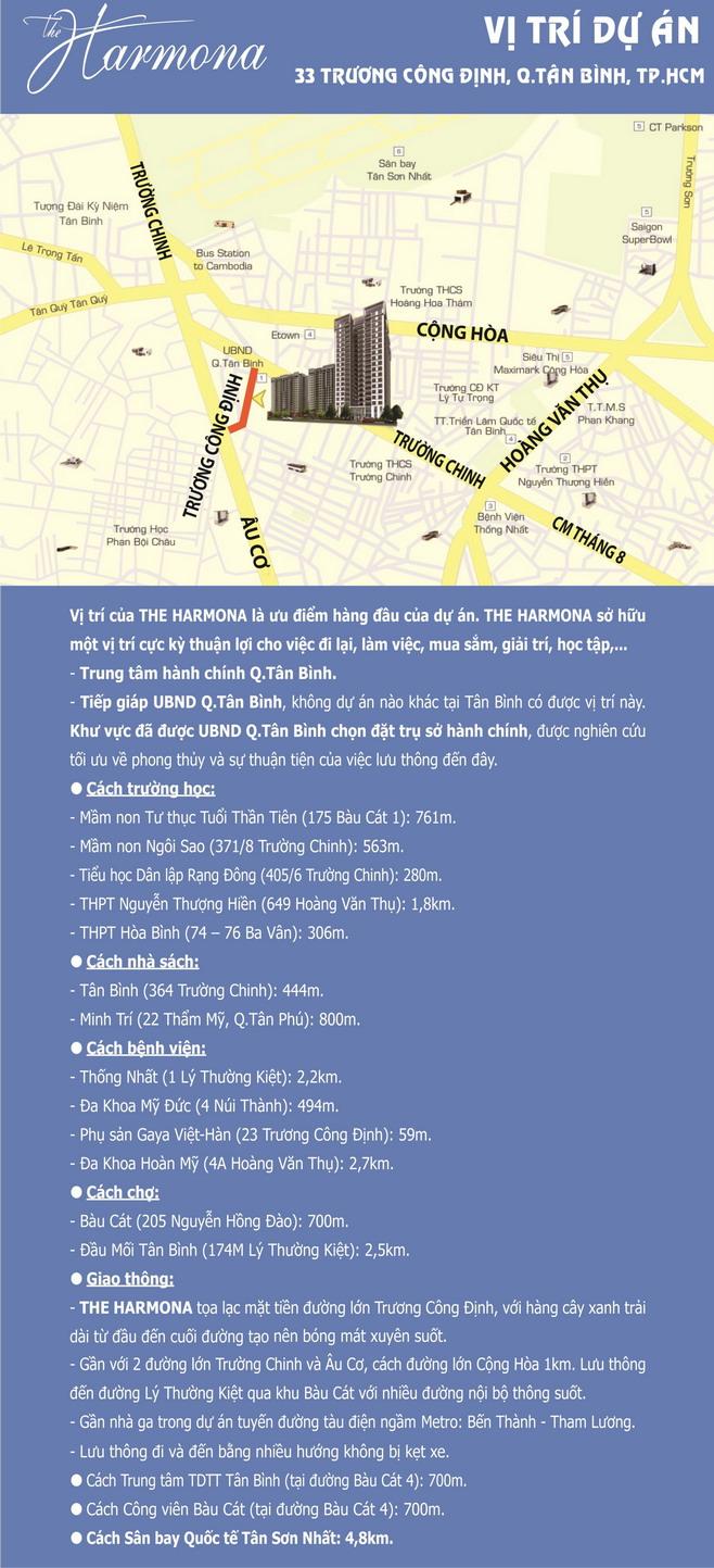 vị trí căn hộ The Harmona Quận Tân Bình