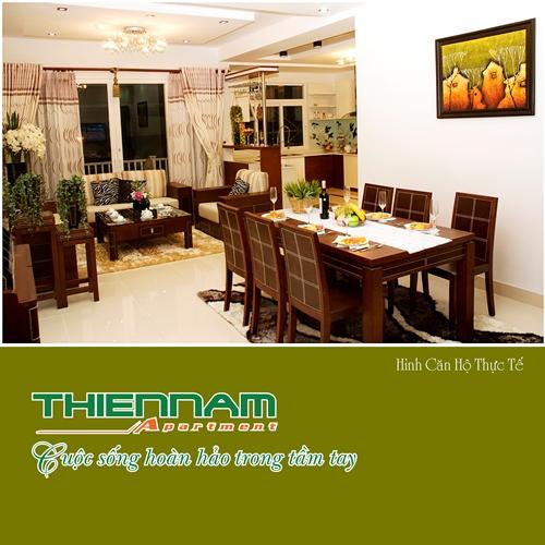 Không gian phòng khách và bếp căn hộ Thiên Nam Aparment