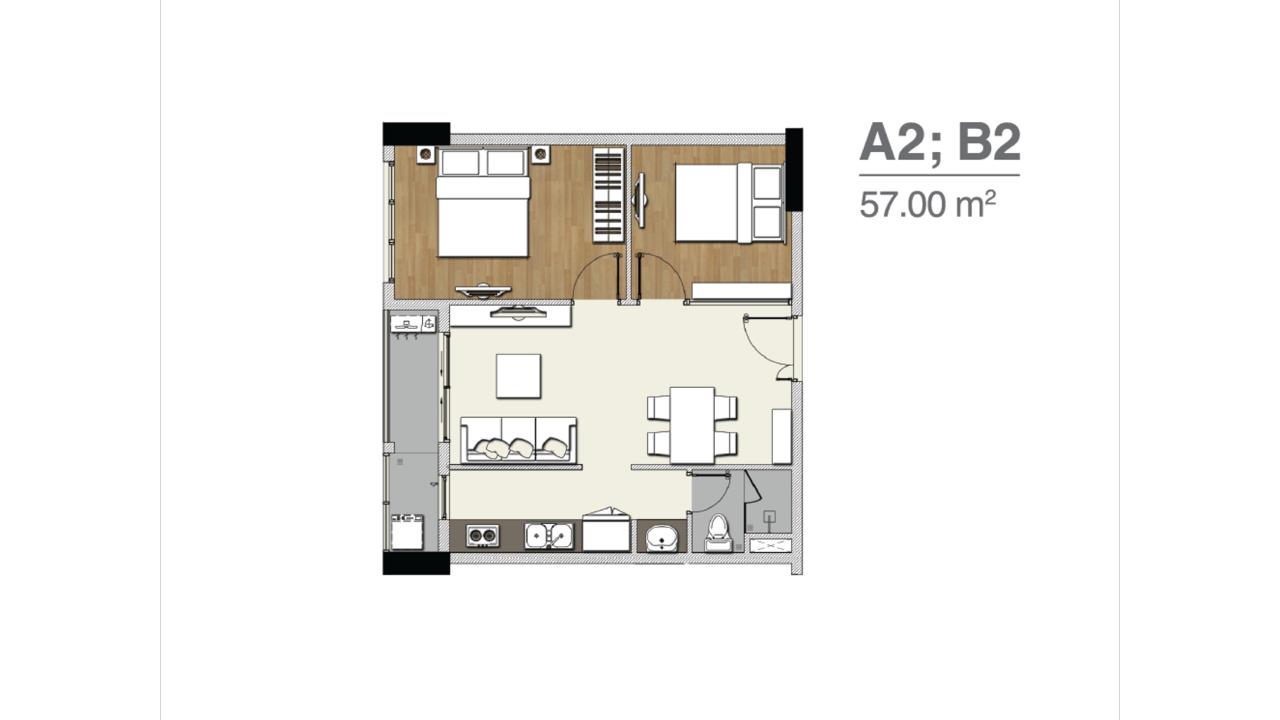Mặt bằng căn hộ A2 B2