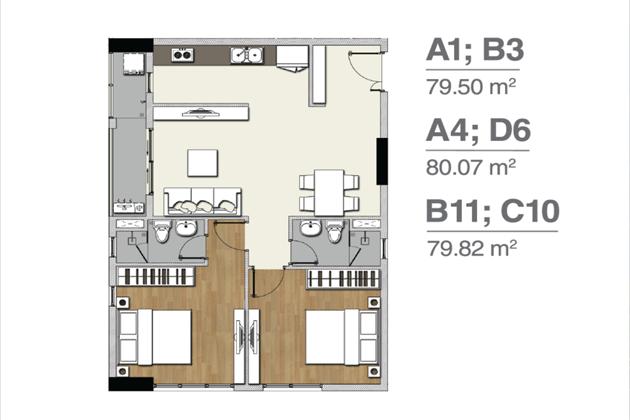 Mặt bằng căn hộ A1 B3 A4 D6