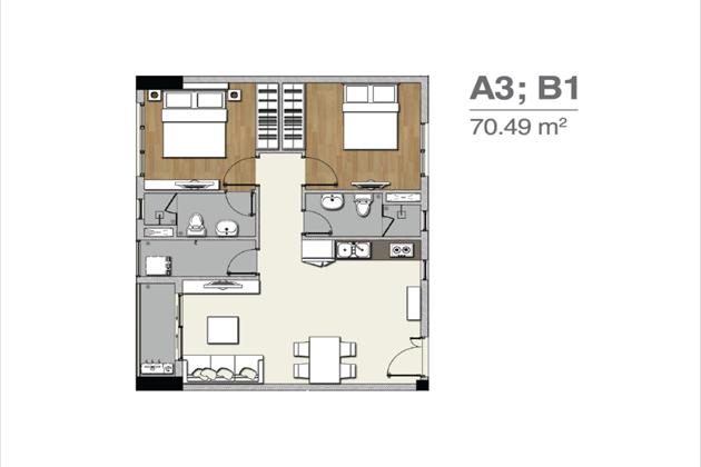 Mặt bằng căn hộ A3 B1