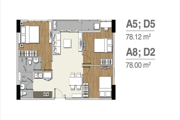 Mặt bằng căn hộ A5 D5 A8 D2