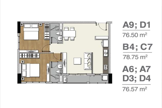 Mặt bằng căn hộ A9 D1 B4 C7