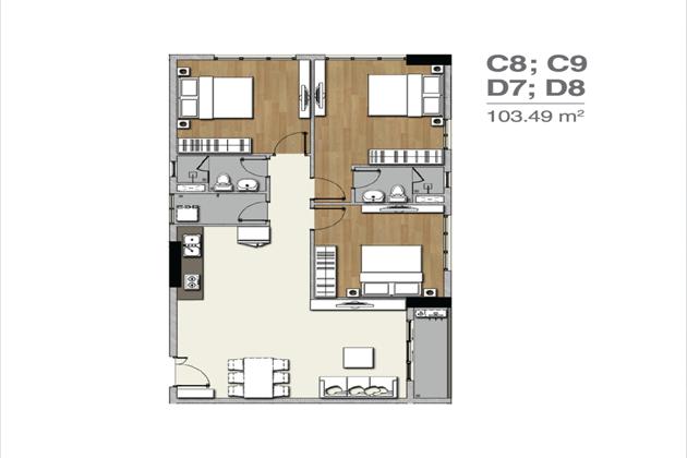Mặt bằng căn hộ C8 C9 D7 D8