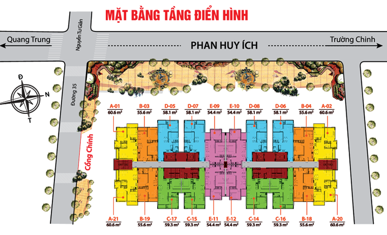 Mặt bằng điển hình căn hộ Thái An